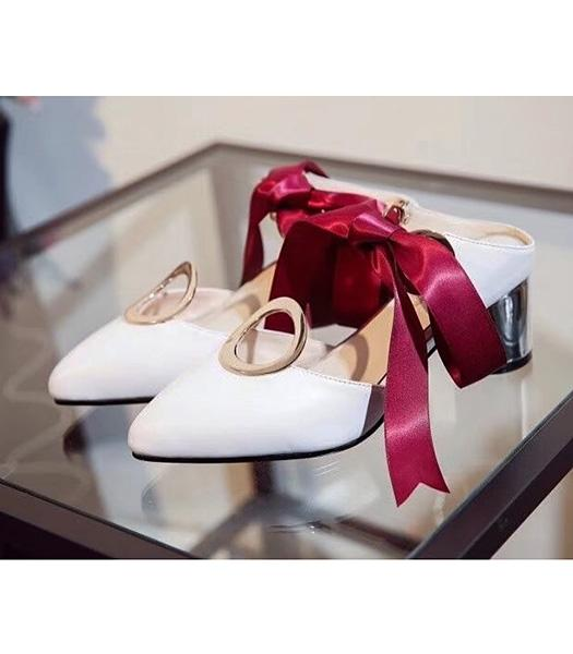 Christian Dior Calfskin With Ribbon Sandals White