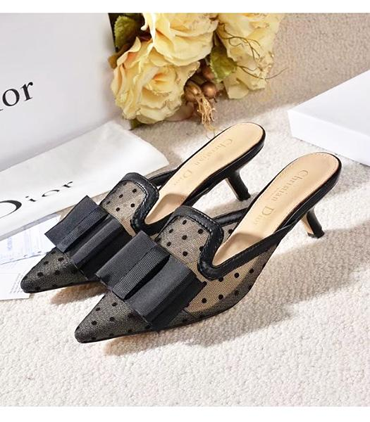 Christian Dior Black New Style Mesh Vara Bow Sandals Shoes