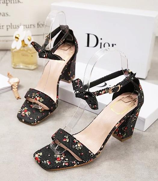 Christian Dior Flowers Embroidery Casual Sandals Black