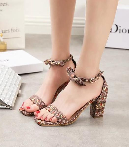 Christian Dior Flowers Embroidery Casual Sandals Coffee