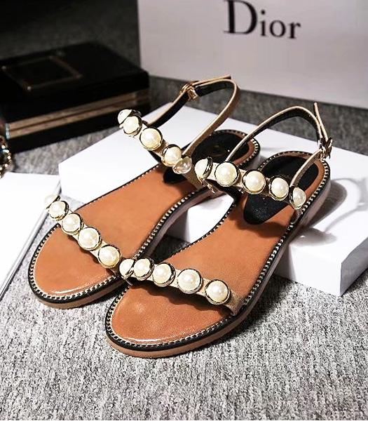 Christian Dior Beads Decorative Casual Sandals Apricot