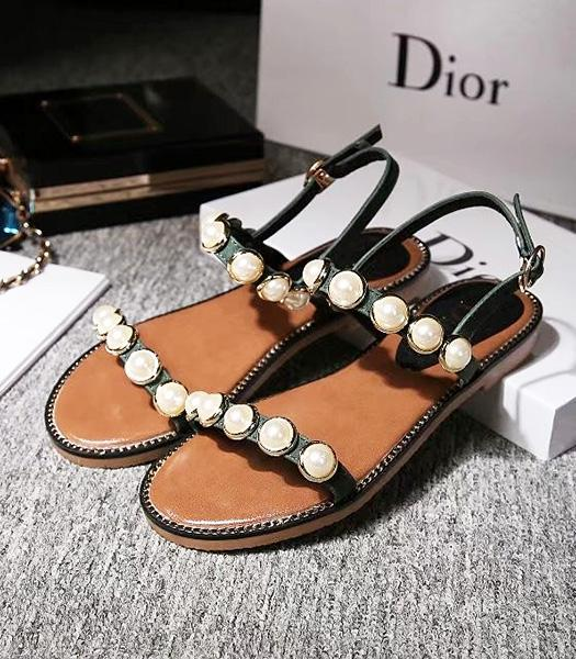 Christian Dior Beads Decorative Casual Sandals Dark Green