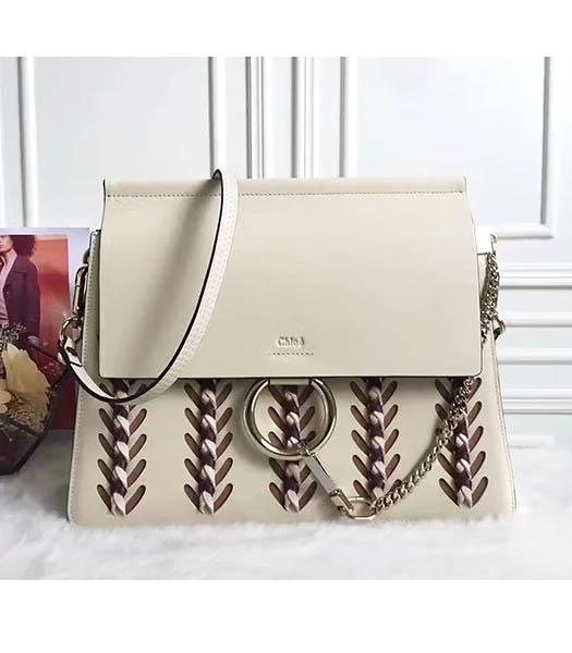 Chloe Faye New Style Grey Leather Weaving Shoulder Bag