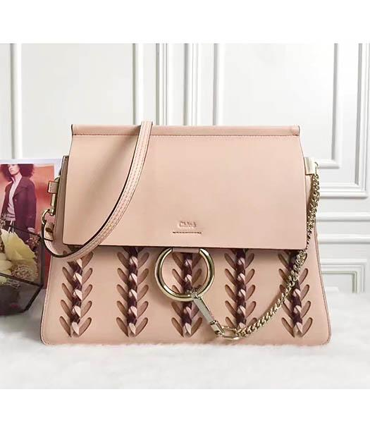 Chloe Faye New Style Pink Leather Weaving Shoulder Bag