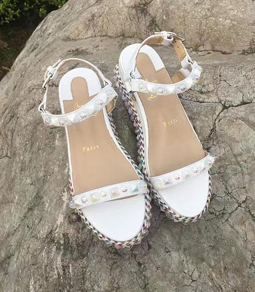 Christian Louboutin Rivets Thick Sole Sandals White