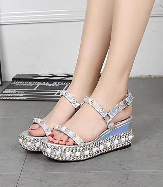 Christian Louboutin Pearls 7.5cm Thick Sole Sandals Colorful