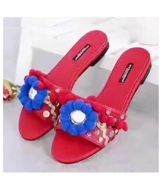 D&G Red New Style Hand Made Flowers Slippers Shoes