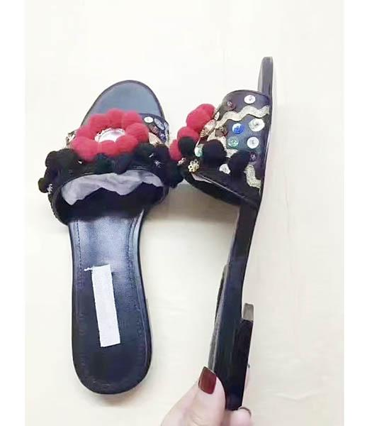 D&G Black New Style Hand Made Flowers Slippers Shoes