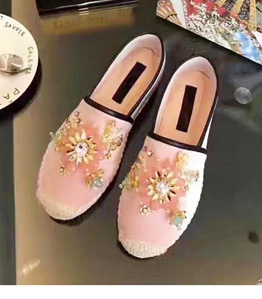 D&G Pink Velvet Crystal Decorative Fisherman Shoes