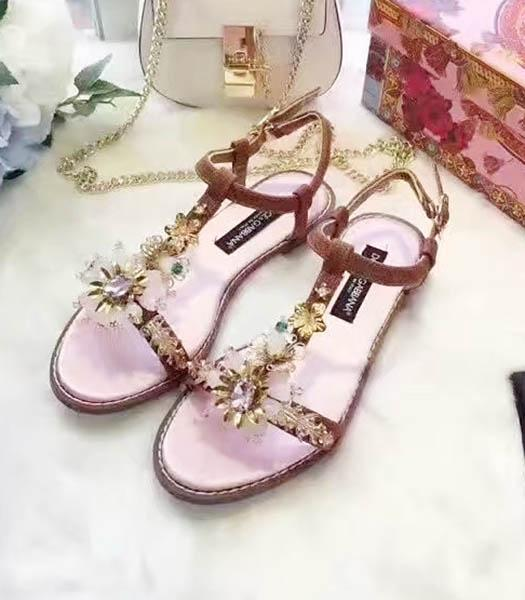 D&G Calfskin Crystal Decorative Casual Sandals Pink