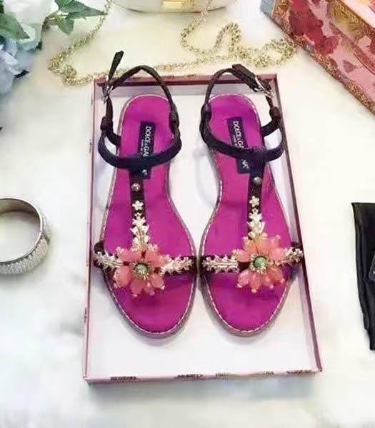 D&G Calfskin Crystal Decorative Casual Sandals Fuchsia