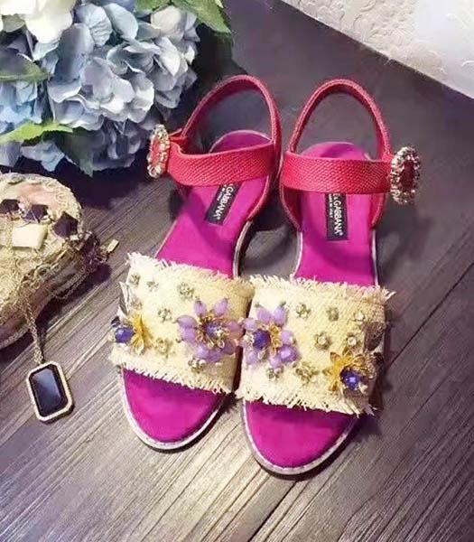 D&G Cloth Crystal Decorative Casual Sandals Fuchsia