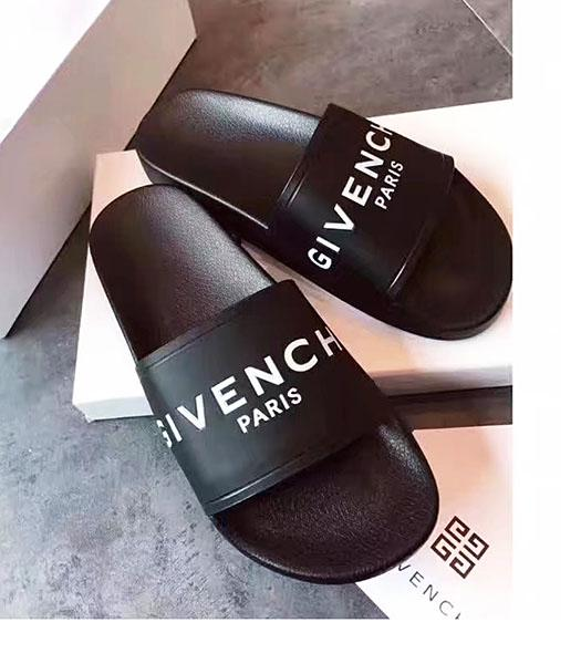 Givenchy Black Leather Flat Casual Slippers