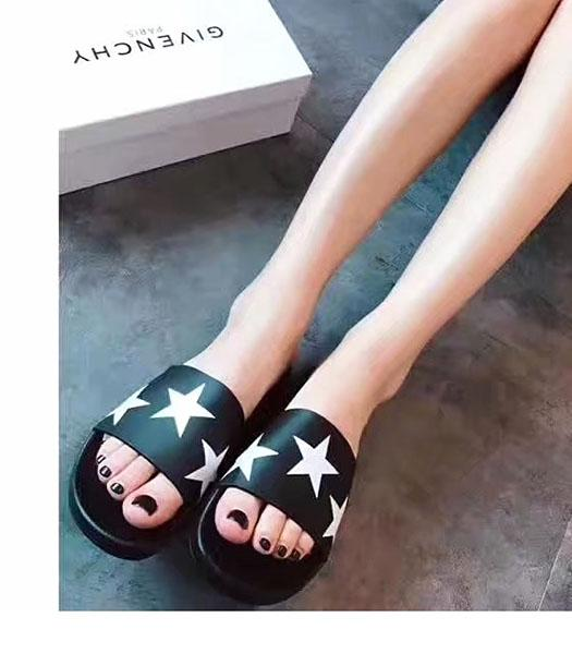 Givenchy Black Leather Stars Print Casual Slippers