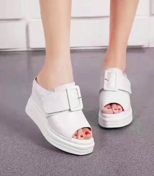 Givenchy White Upper Calfskin Leather Wedges 9cm Sandals Shoes