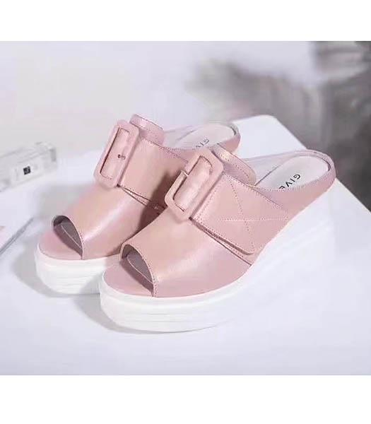 Givenchy Apricot Upper Calfskin Leather Wedges 9cm Sandals Shoes