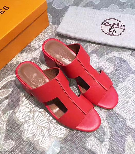 Hermes Red Calfskin Leather Chunky Sandals