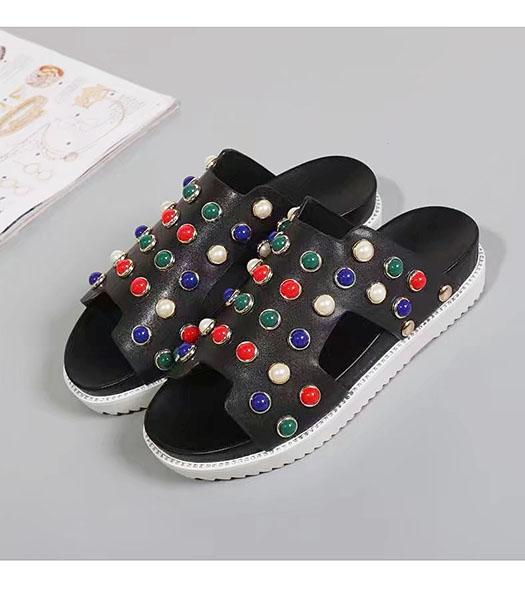 Hermes Black Calfskin Leather Beads Casual Sandals