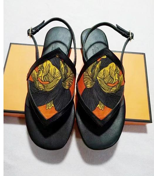 Hermes Latest Black Leather Casual Sandals