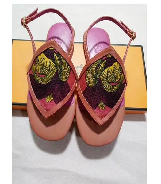 Hermes Latest Red Leather Casual Sandals