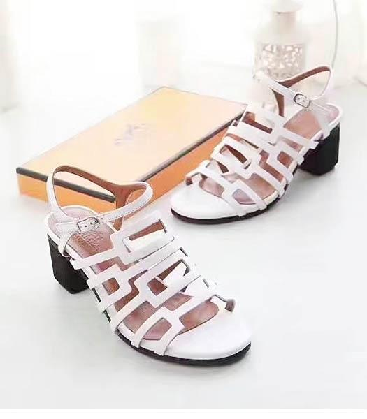 Hermes White Calfskin Leather 5.5cm Chunky Sandals