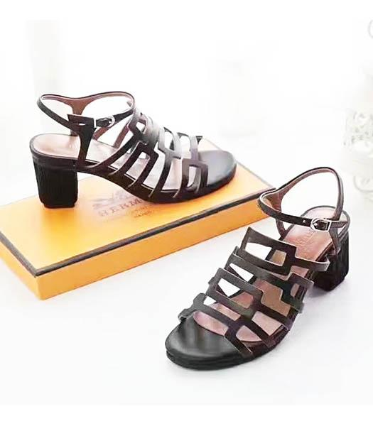 Hermes Black Calfskin Leather 5.5cm Chunky Sandals