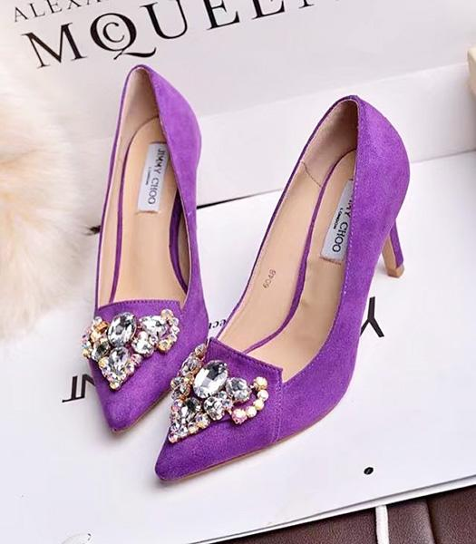 Jimmy Choo Purple Suede Leather Crystal 7cm High Heels