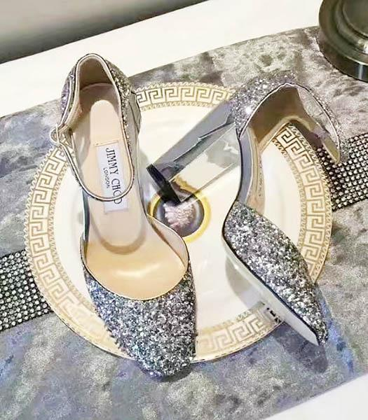 Jimmy Choo Sequins 8cm High Heel Chunky Sandals Silver