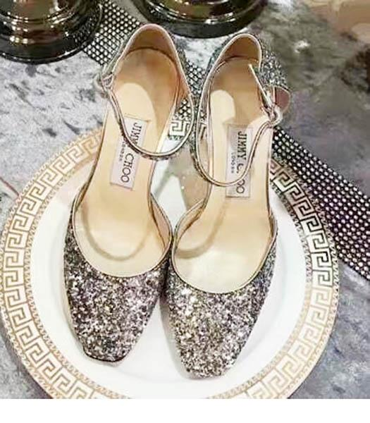 Jimmy Choo Sequins 8cm High Heel Chunky Sandals Gold