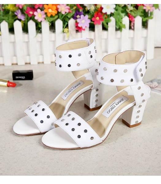 Jimmy Choo White New Style Upper Calfskin Leather Rivet Sandals Shoes
