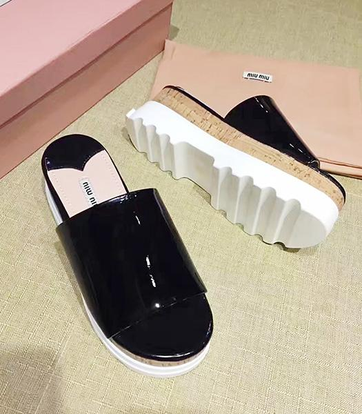 Miu Miu Black New Style Patent Leather Thick Sole Slippers Shoes