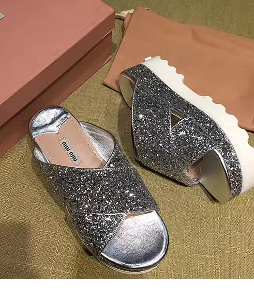 Miu Miu Gold New Style Special Materials Thick Sole Slippers Shoes