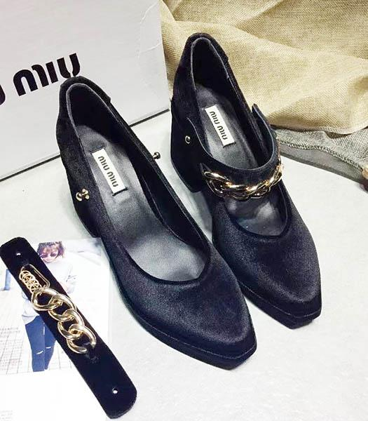 Miu Miu Black Velvet High Heel Chunky Shoes