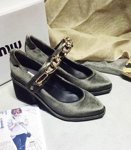 Miu Miu Dark Grey Velvet High Heel Chunky Shoes