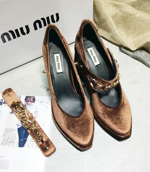 Miu Miu Coffee Velvet High Heel Chunky Shoes