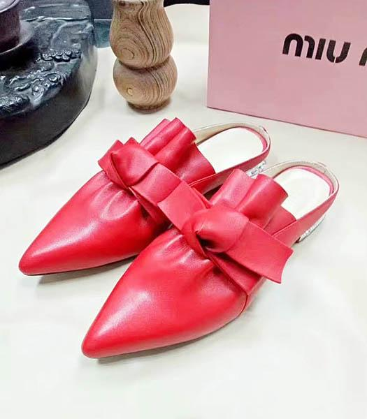 Miu Miu Sheepskin Bow Knot Flat Sandals Red