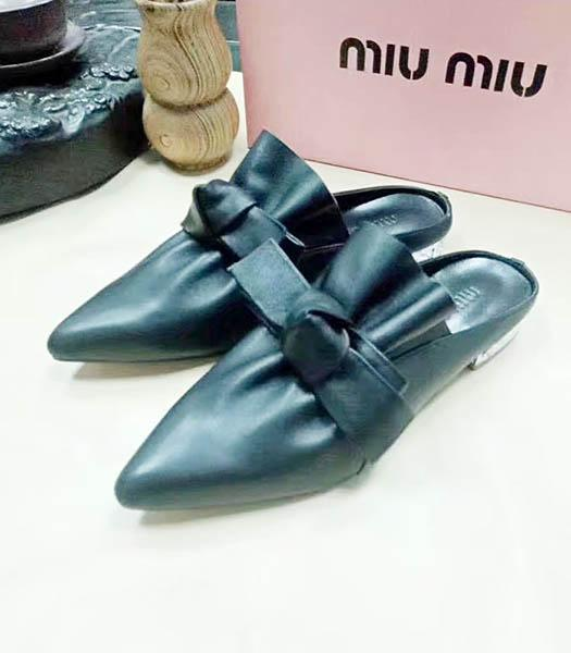 Miu Miu Sheepskin Bow Knot Flat Sandals Black