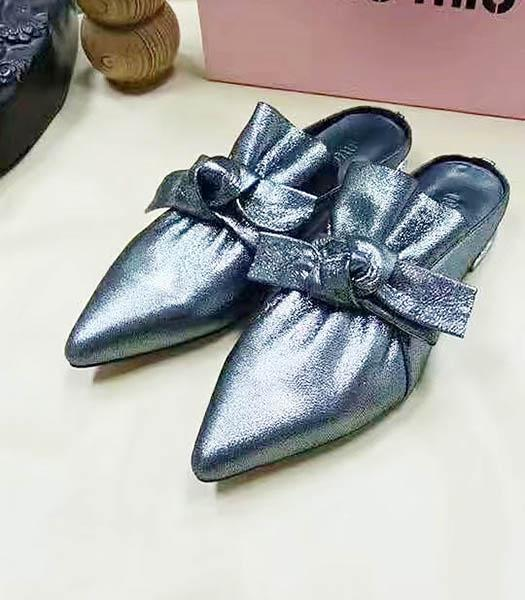 Miu Miu Sheepskin Bow Knot Flat Sandals Gun