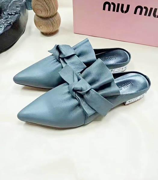 Miu Miu Sheepskin Bow Knot Flat Sandals Grey