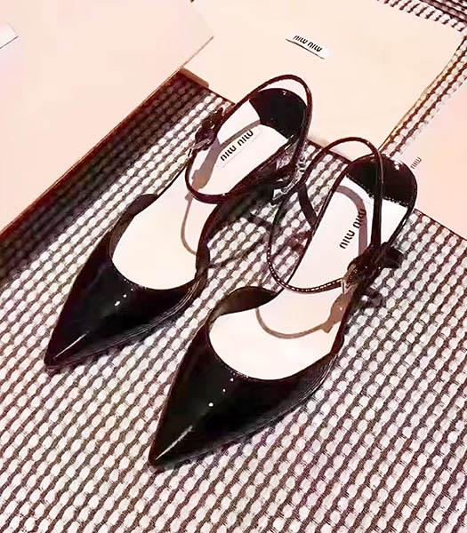 Miu Miu Black Leather Pointed Chunky Sandals