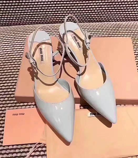 Miu Miu Light Blue Leather Pointed Chunky Sandals