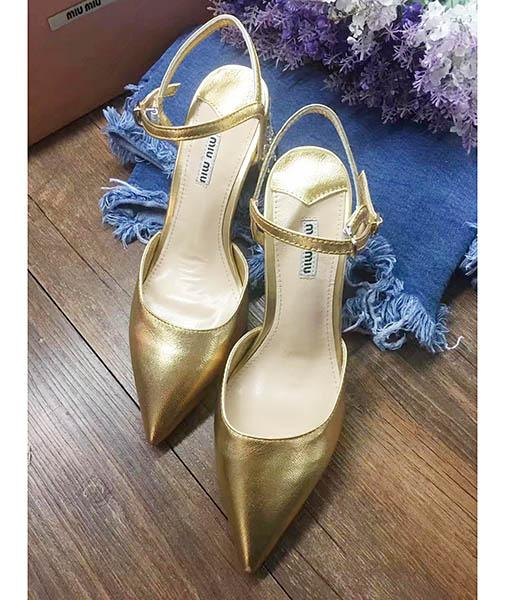 Miu Miu Gold Leather Pointed Chunky Sandals