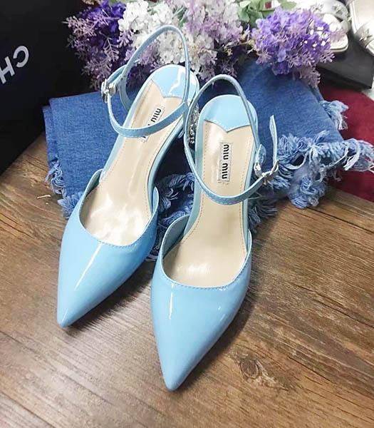 Miu Miu Blue Leather Pointed Chunky Sandals