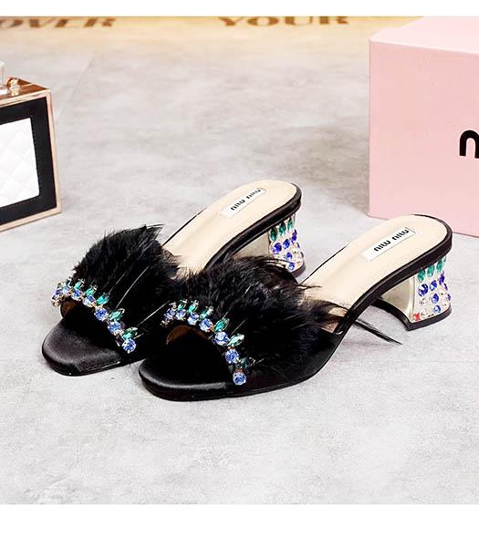Miu Miu Black Fur With Crystal Chunky Sandals