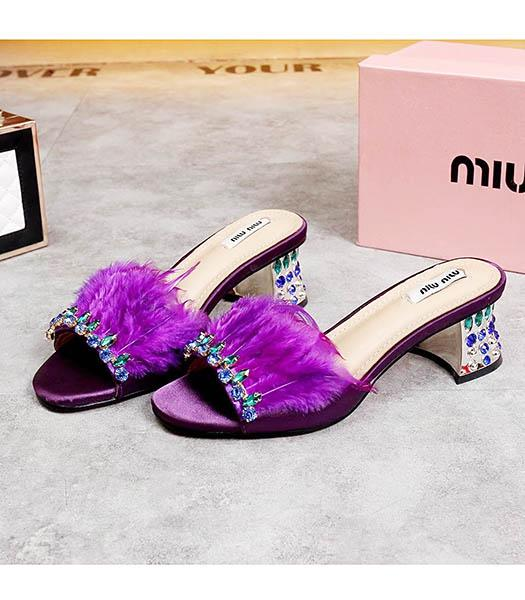 Miu Miu Purple Fur With Crystal Chunky Sandals