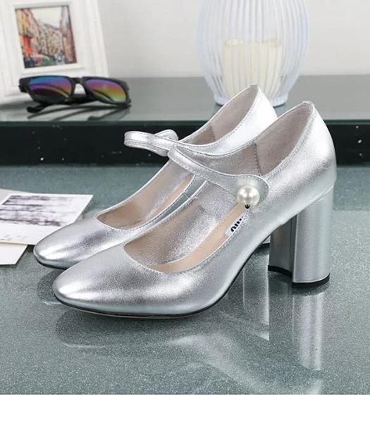 Miu Miu Silver New Style Calfskin Leather 8.5cm High Heel Shoes