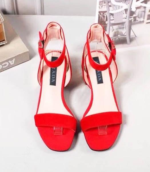 Prada Red Suede Leather 4cm Low Heel Sandals