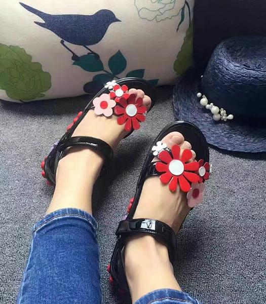 Prada Black New Style Calfskin Leather Flower Sandals Shoes