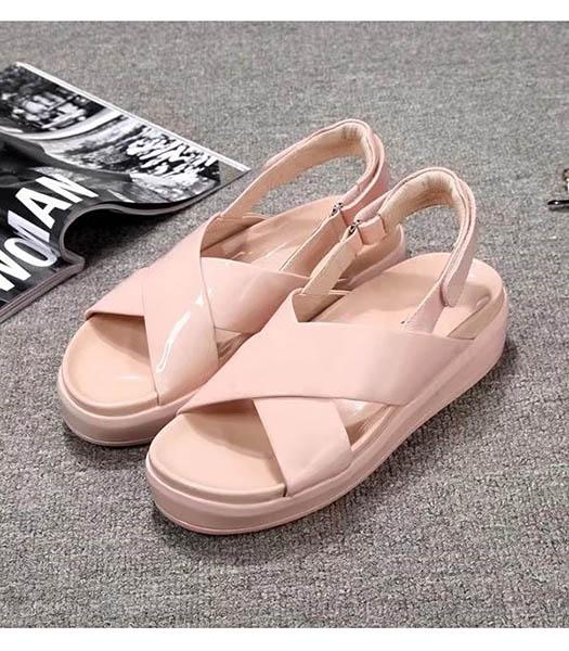 Prada Classic Pink Patent Leather Sandals