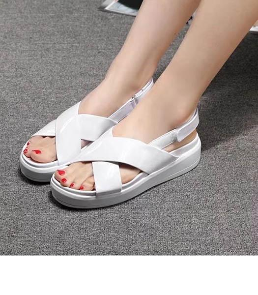 Prada Classic White Patent Leather Sandals